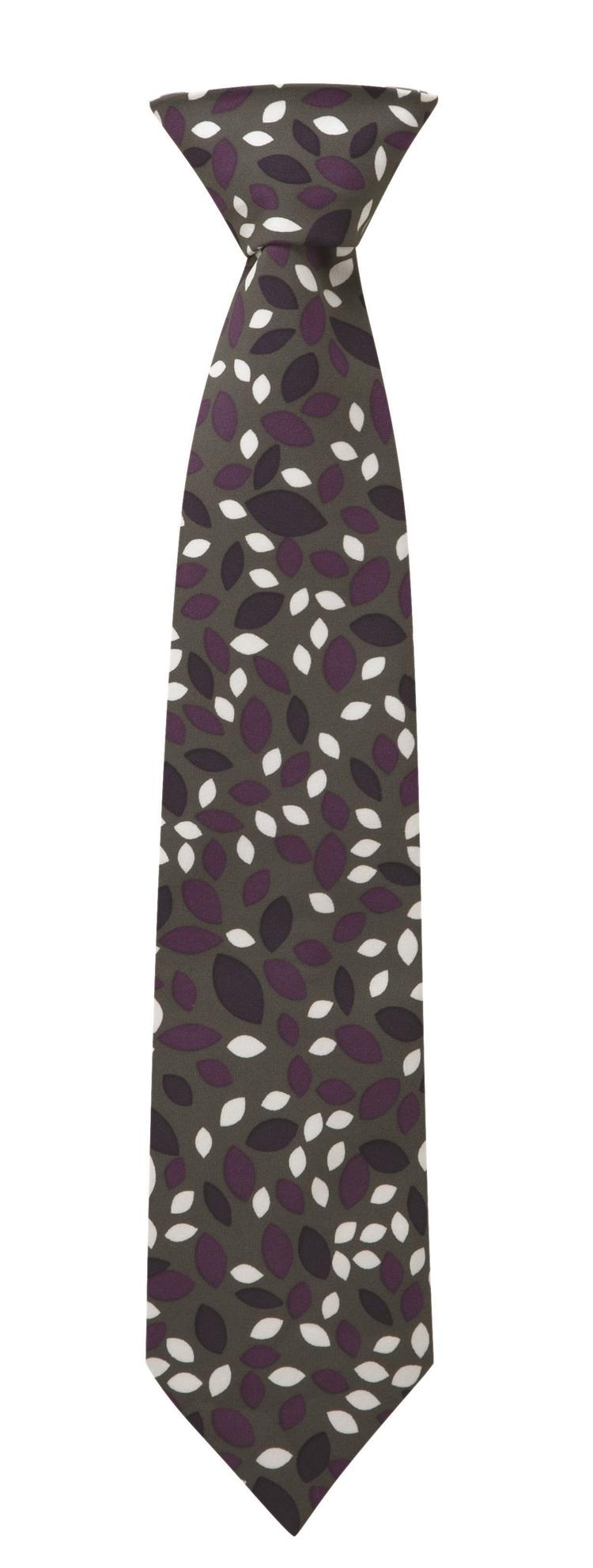 Picture of Print Tie - Grey/Purple Lauren Print