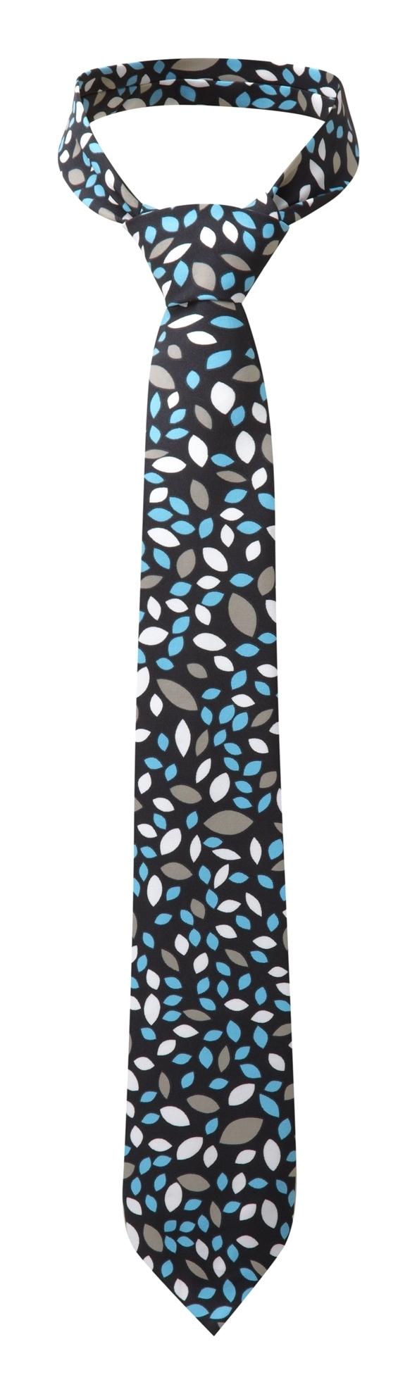 Picture of Print Tie - Navy/Aqua Lauren Print