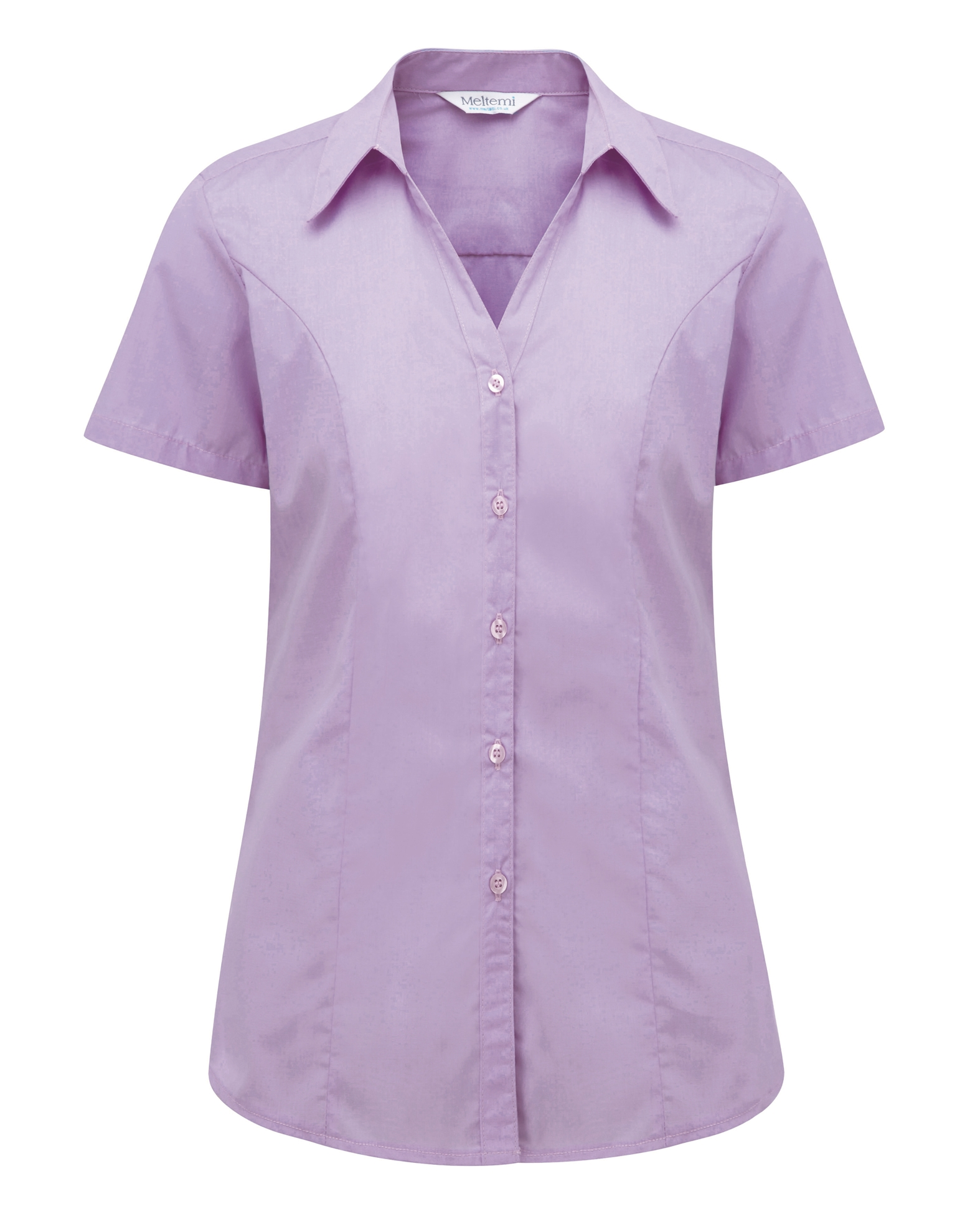 Picture of Semi-Fitted Polycotton Blouse - Plain Lilac
