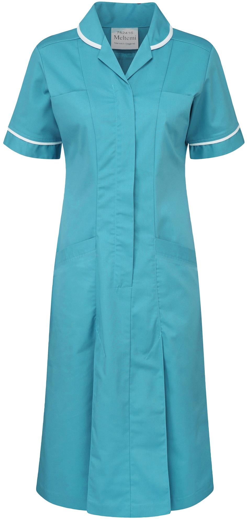 Picture of Plain Colour Dress - Aquamarine/White