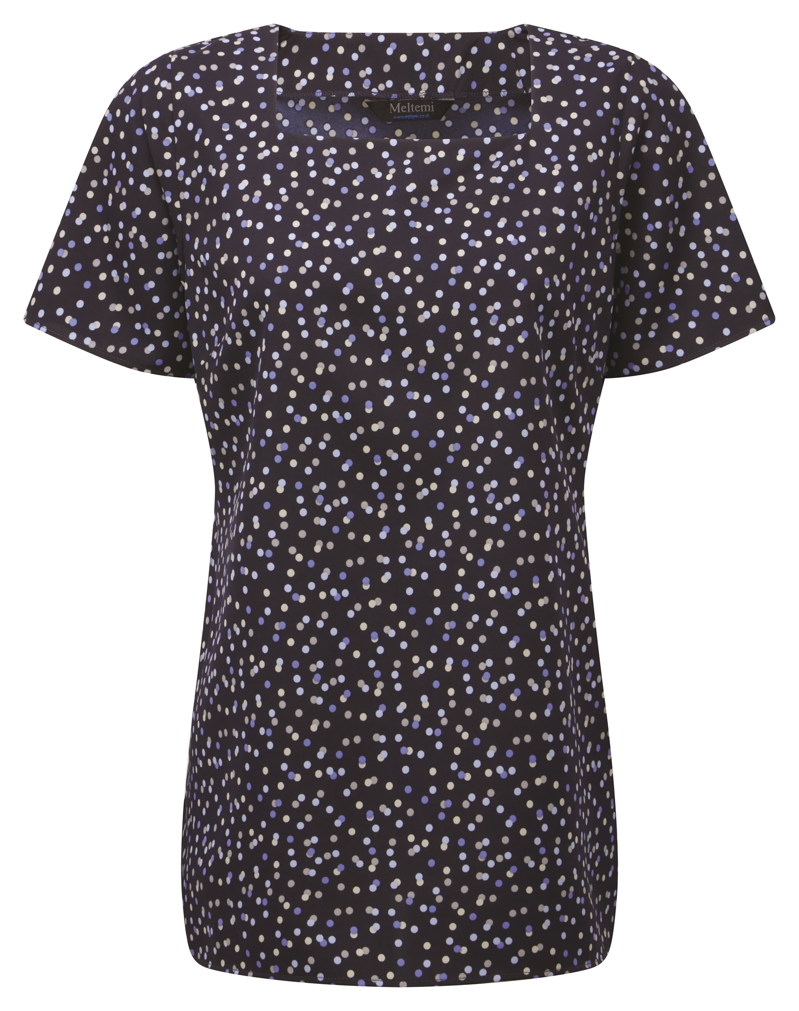 Picture of Looser Fit CoolWeave Square Neck Blouse - Navy/Lavender/Grey Darcey Print