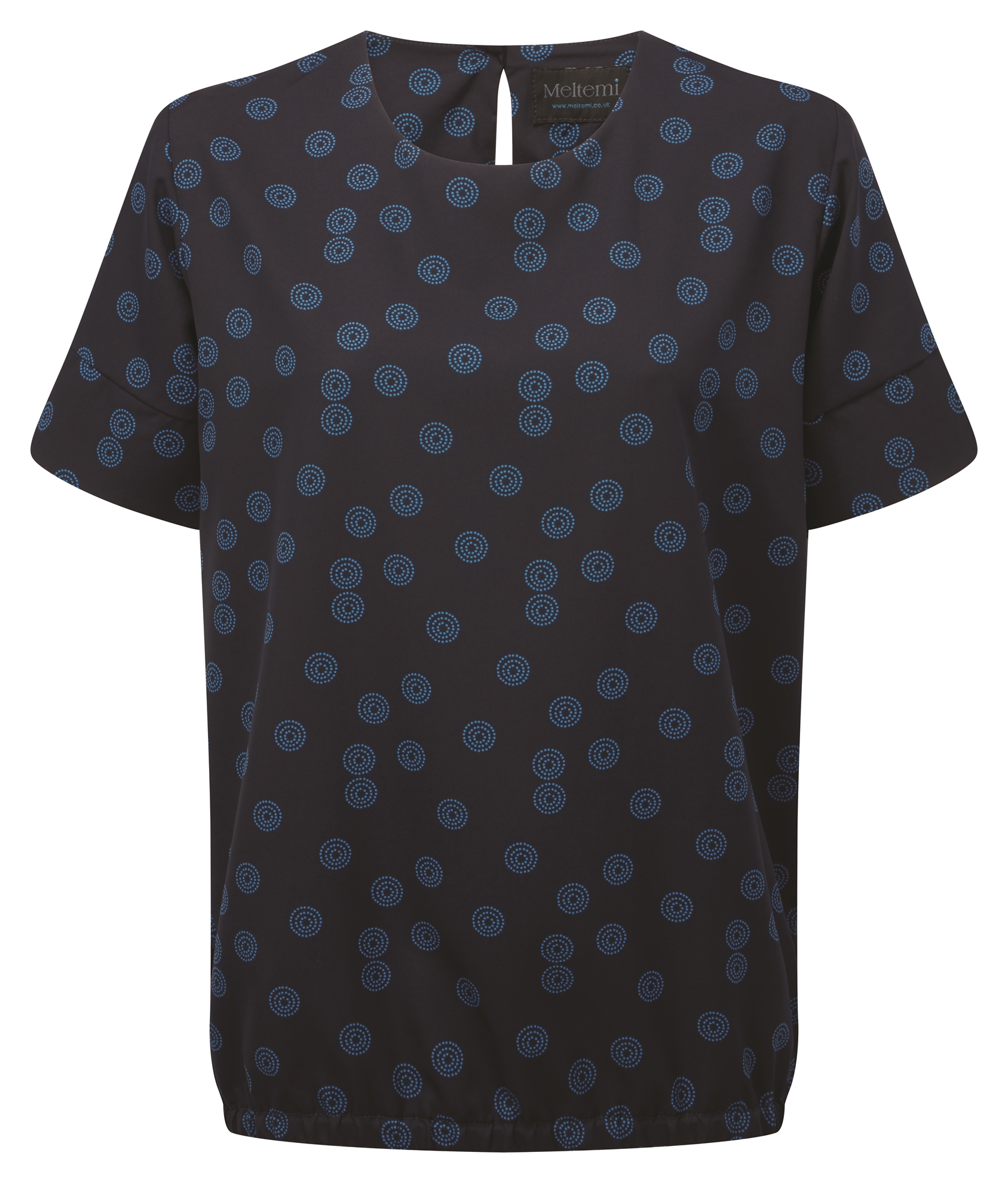 Picture of Looser Fit CoolWeave Blouson Style Blouse - Navy/Blue Sienna Print