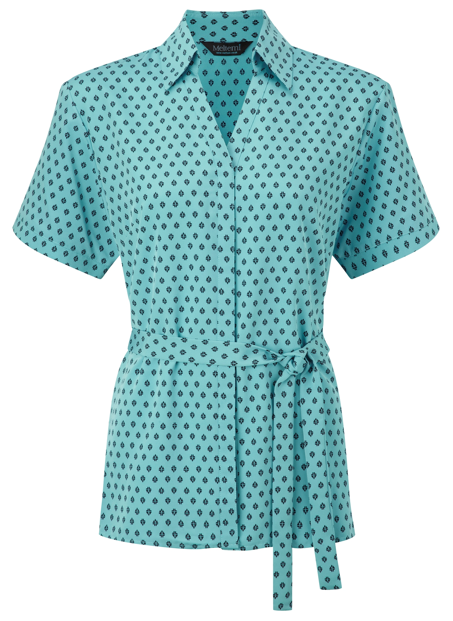 Picture of Looser Style Polyester Blouse - Light Blue/Navy Fleur Print