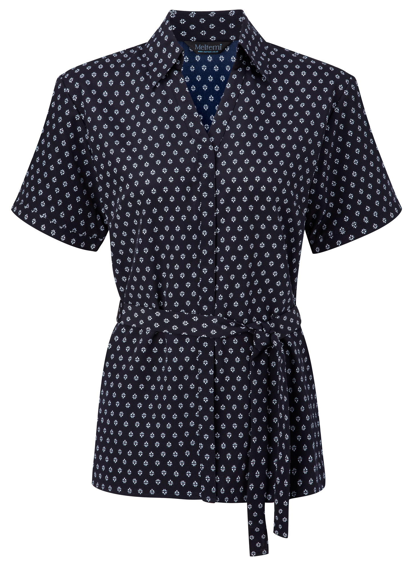 Picture of Looser Style Polyester Blouse - Navy/White Fleur Print