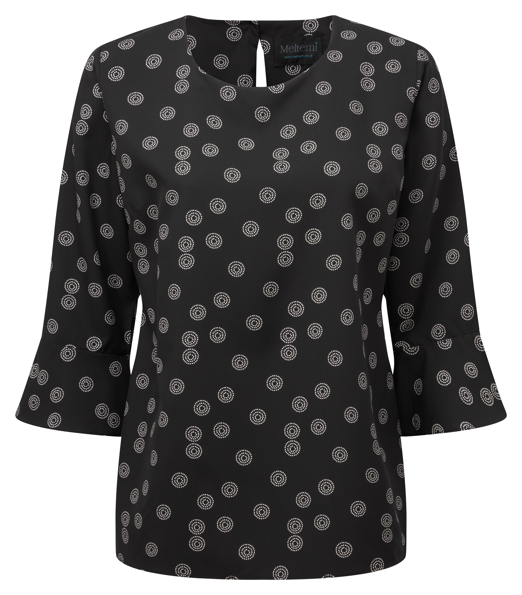 Picture of Semi Fitted CoolWeave Blouse Flute Sleeves - Black/White Sienna Print