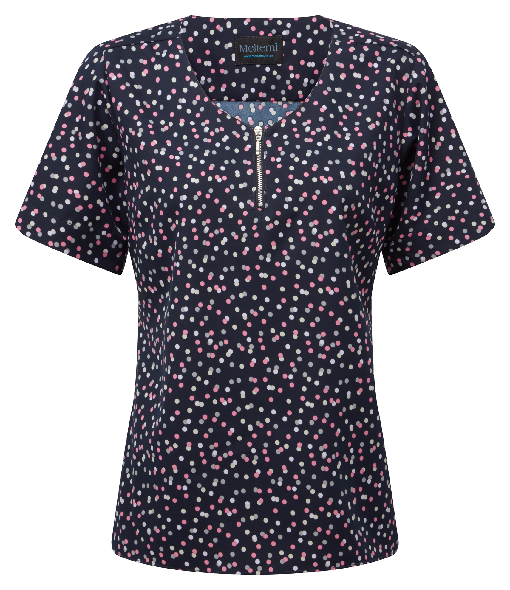 Picture of Semi-Fitted CoolWeave Blouse with Zip - Navy/Pink/Grey Darcey Print