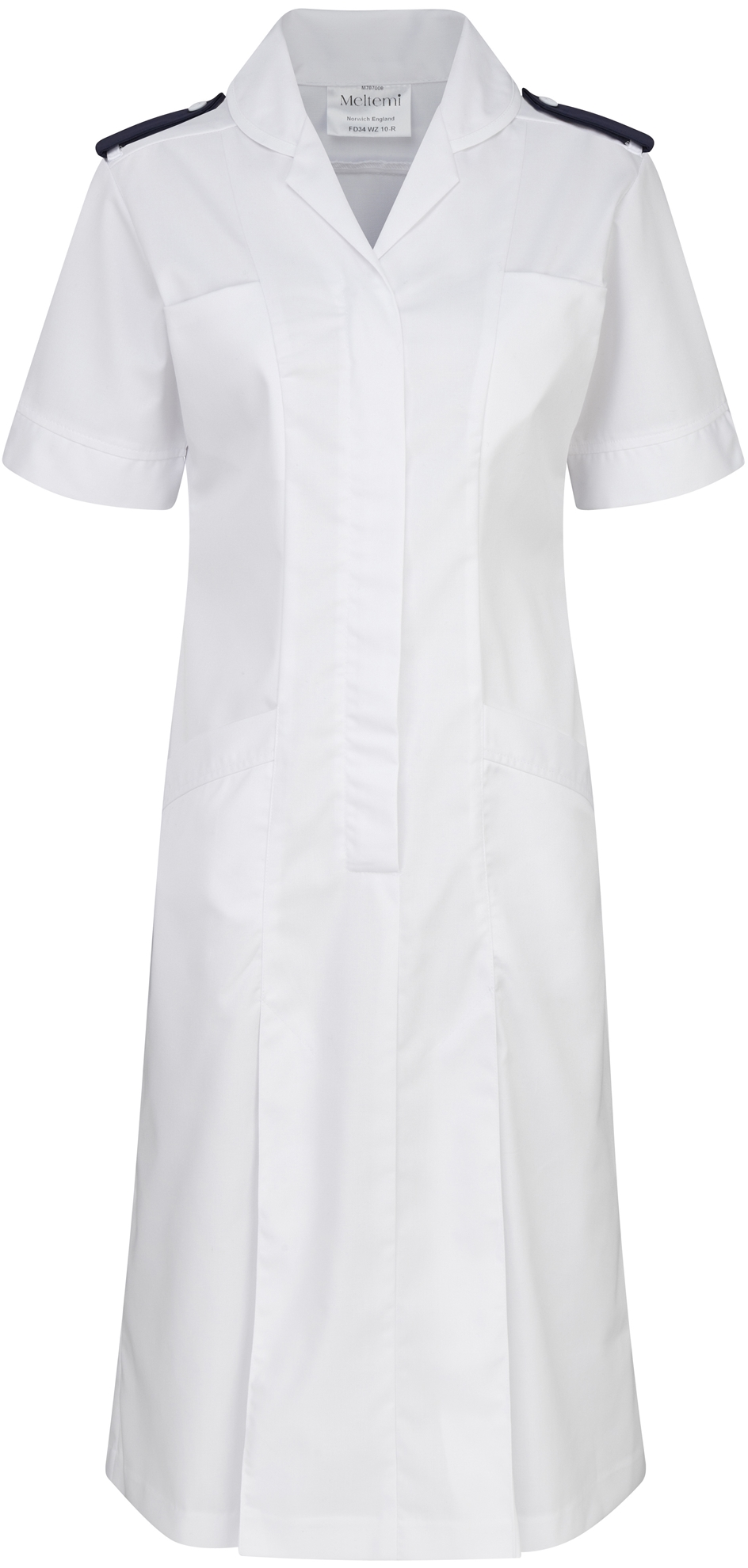 Picture of Dress With Epaulette Bar & Button - White