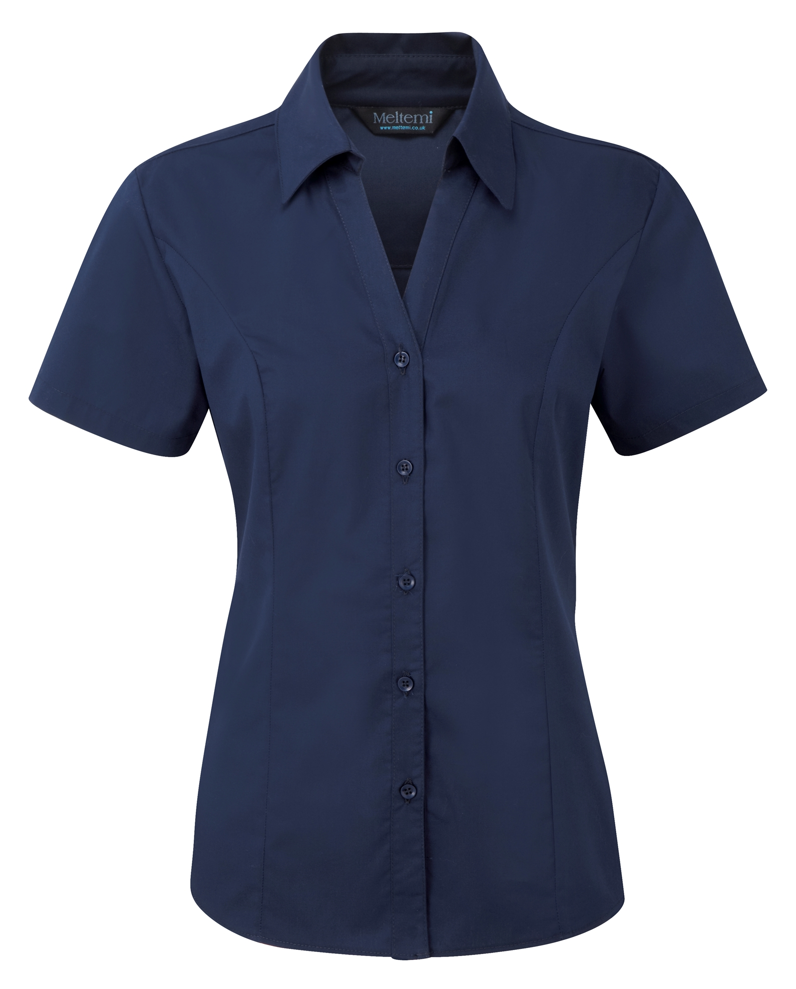 Picture of Semi-Fitted Polycotton Blouse - Plain Navy