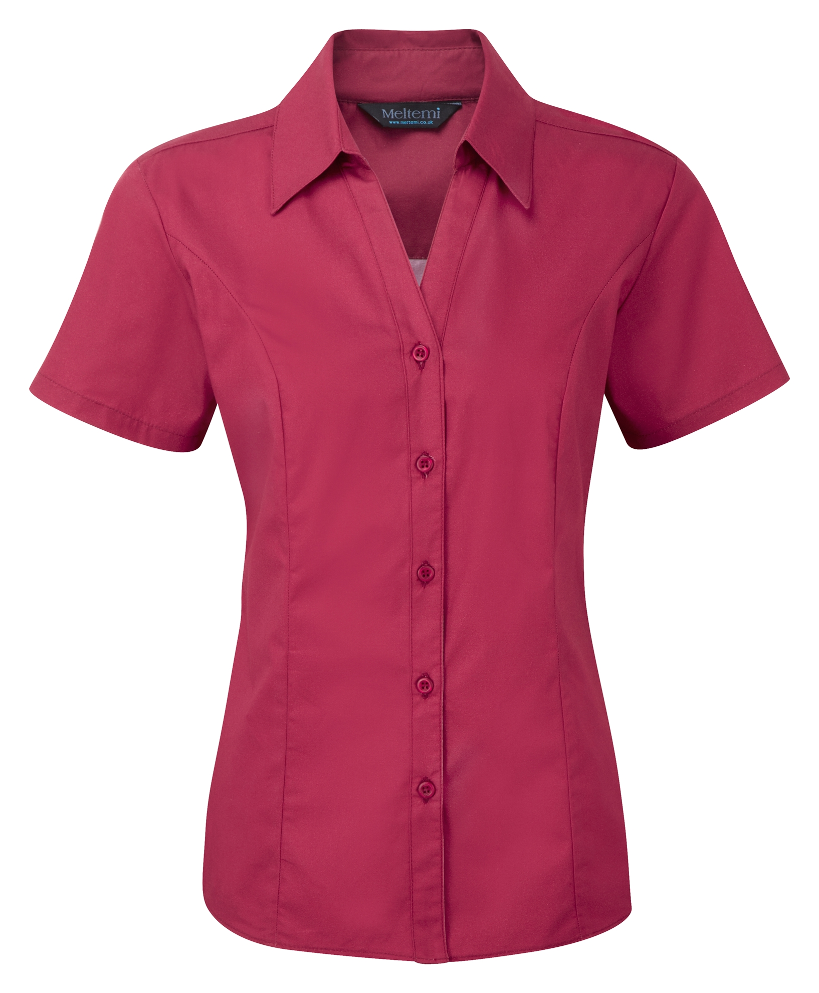 Picture of Semi-Fitted Polycotton Blouse - Plain Berry