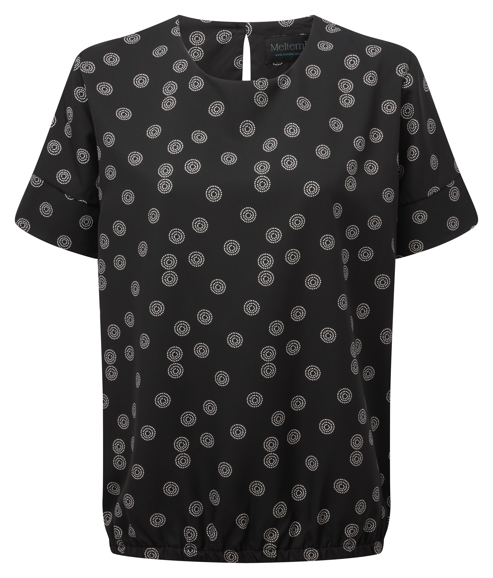Picture of Looser Fit CoolWeave Blouson Style Blouse - Black/White Sienna Print