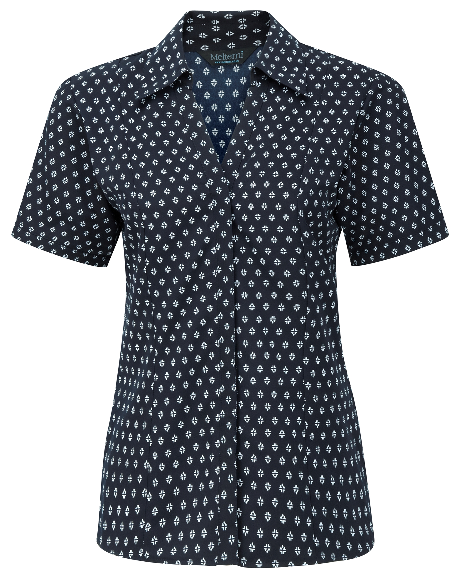 Picture of Semi-Fitted Polyester Blouse - Navy/White Fleur Print