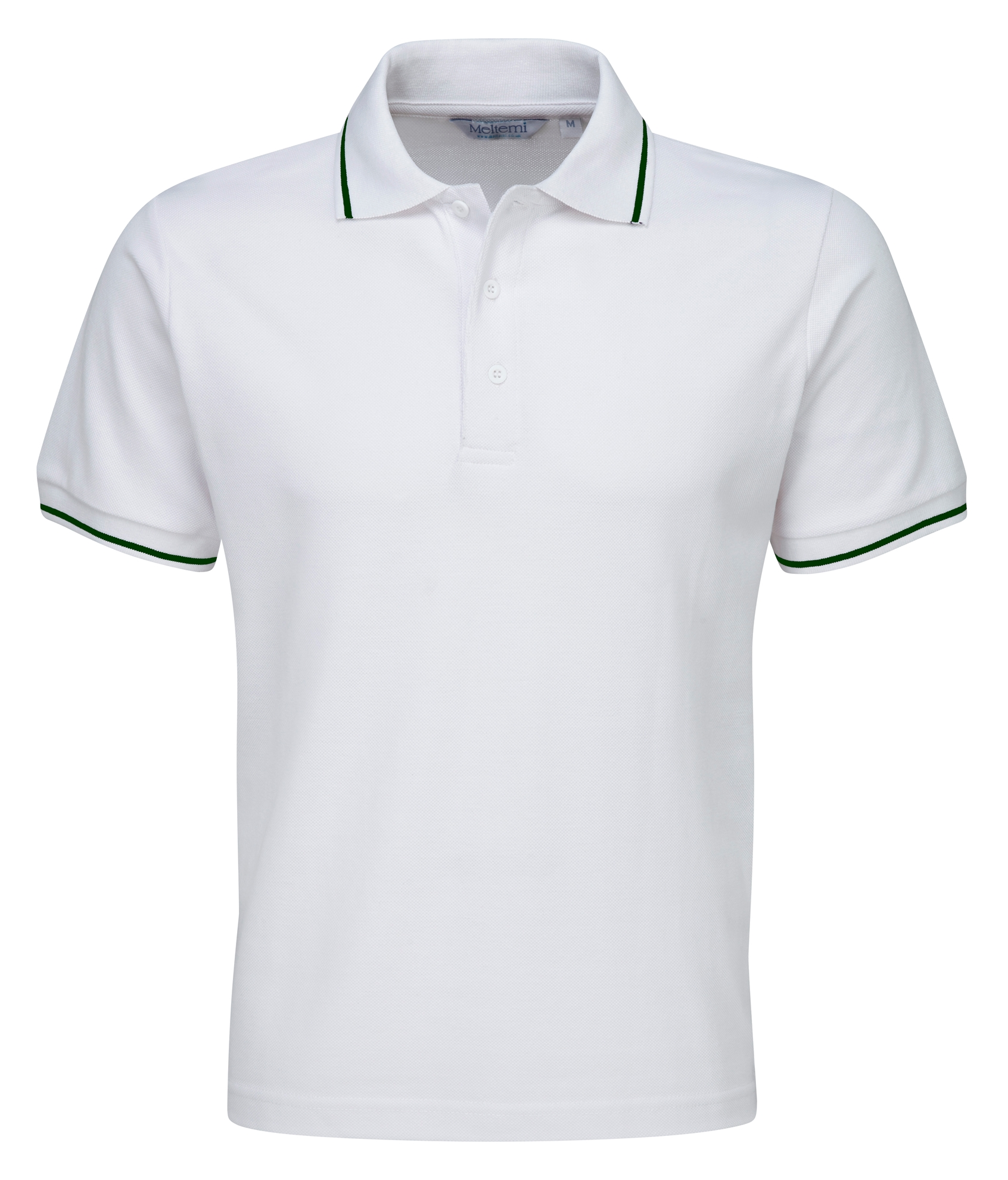 Picture of Single Tipped Polo Shirt - White/Bottle Green