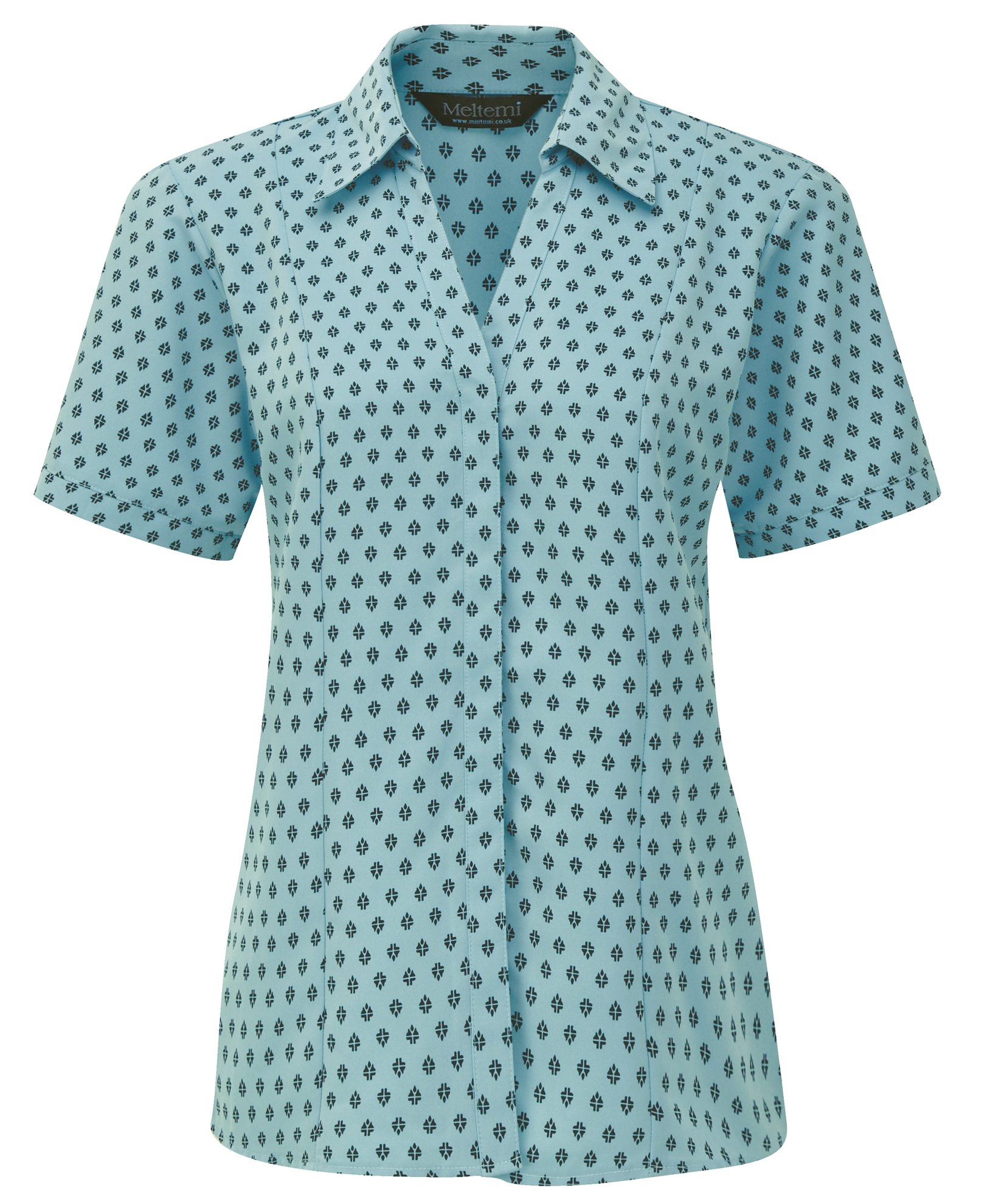 Picture of Semi-Fitted Polyester Blouse - Light Blue/Navy Fleur Print