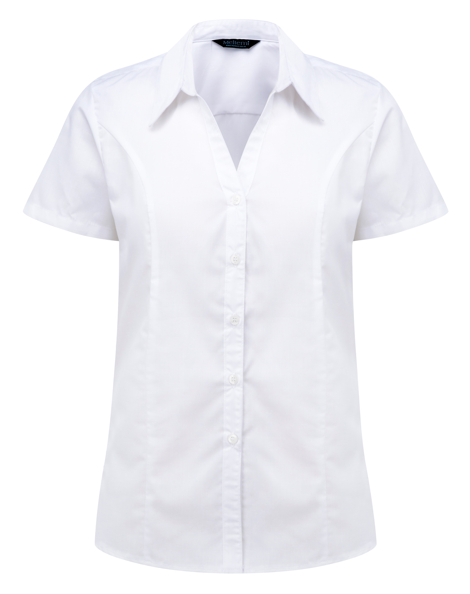 Picture of Semi-Fitted Polycotton Blouse - Plain White