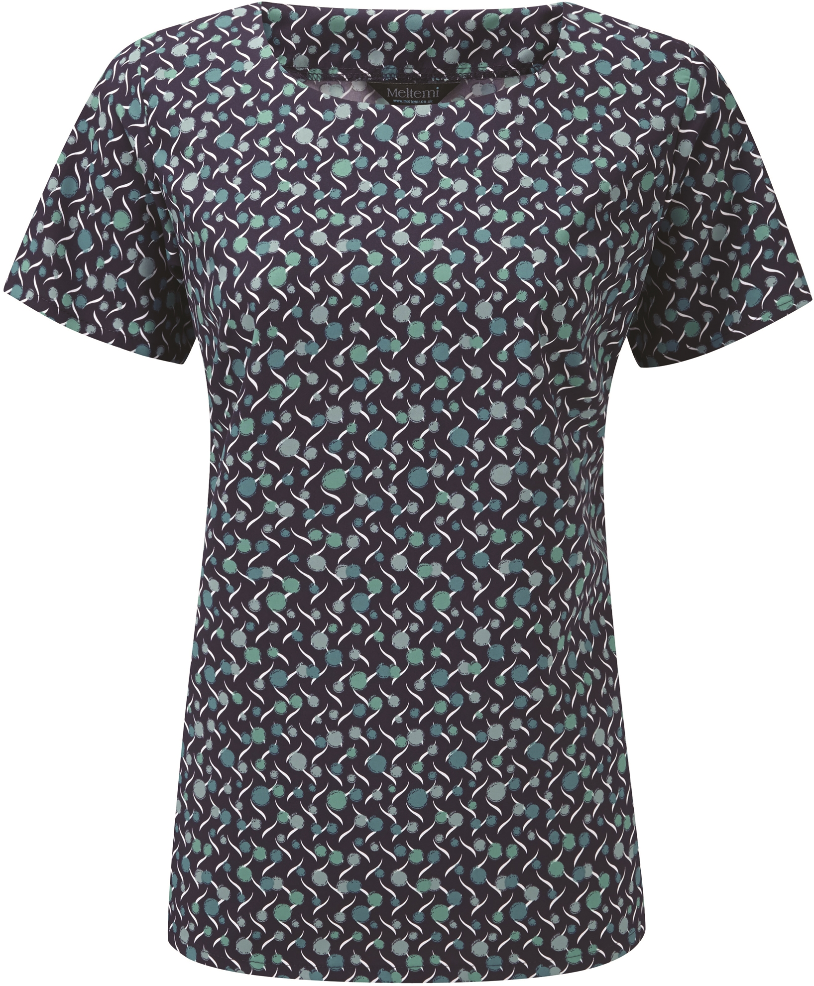 Picture of Round Neck Coolweave Blouse - Navy/Aqua Chloe Print