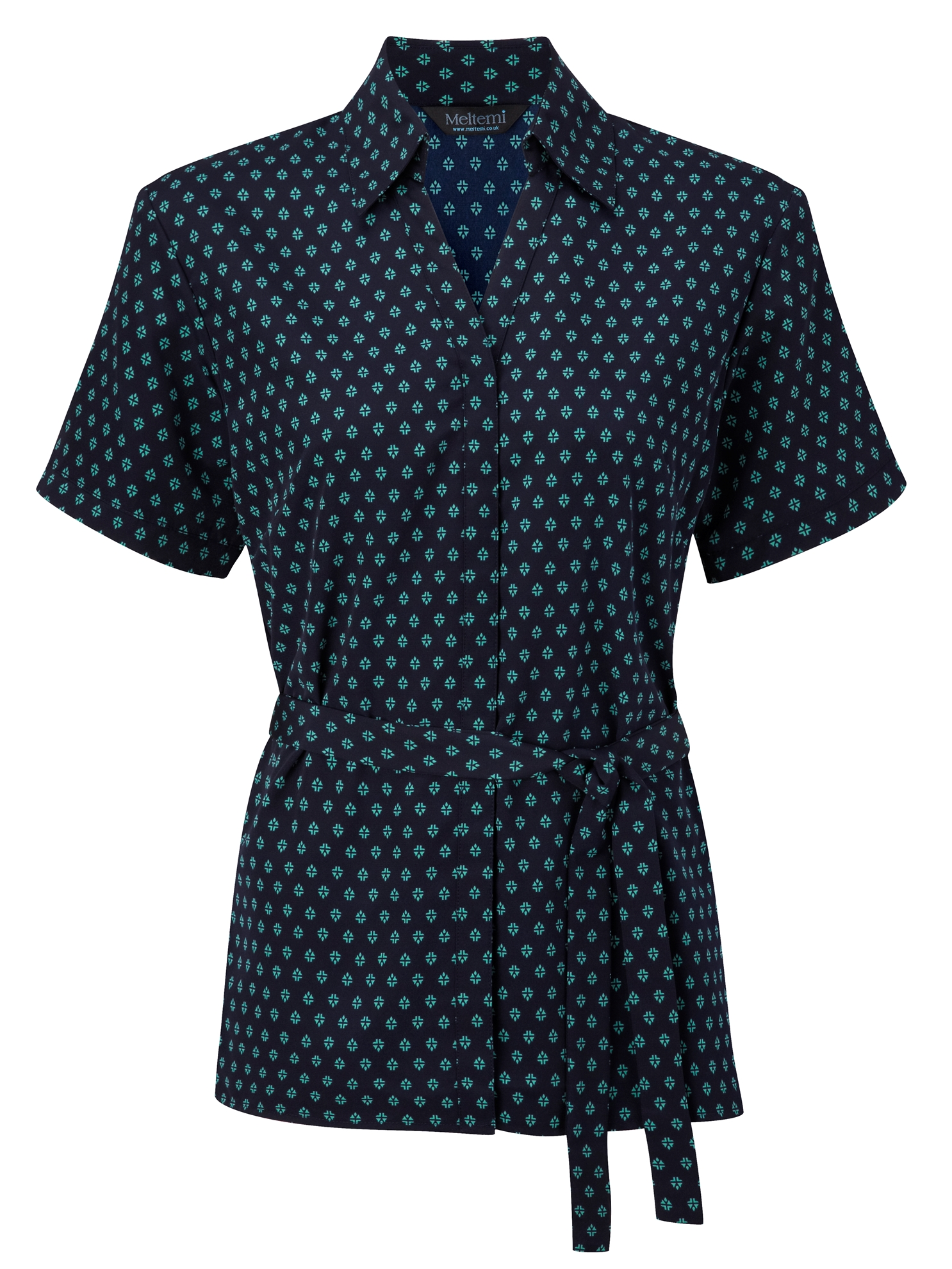Picture of Looser Style Polyester Blouse - Navy/Aqua Fleur Print