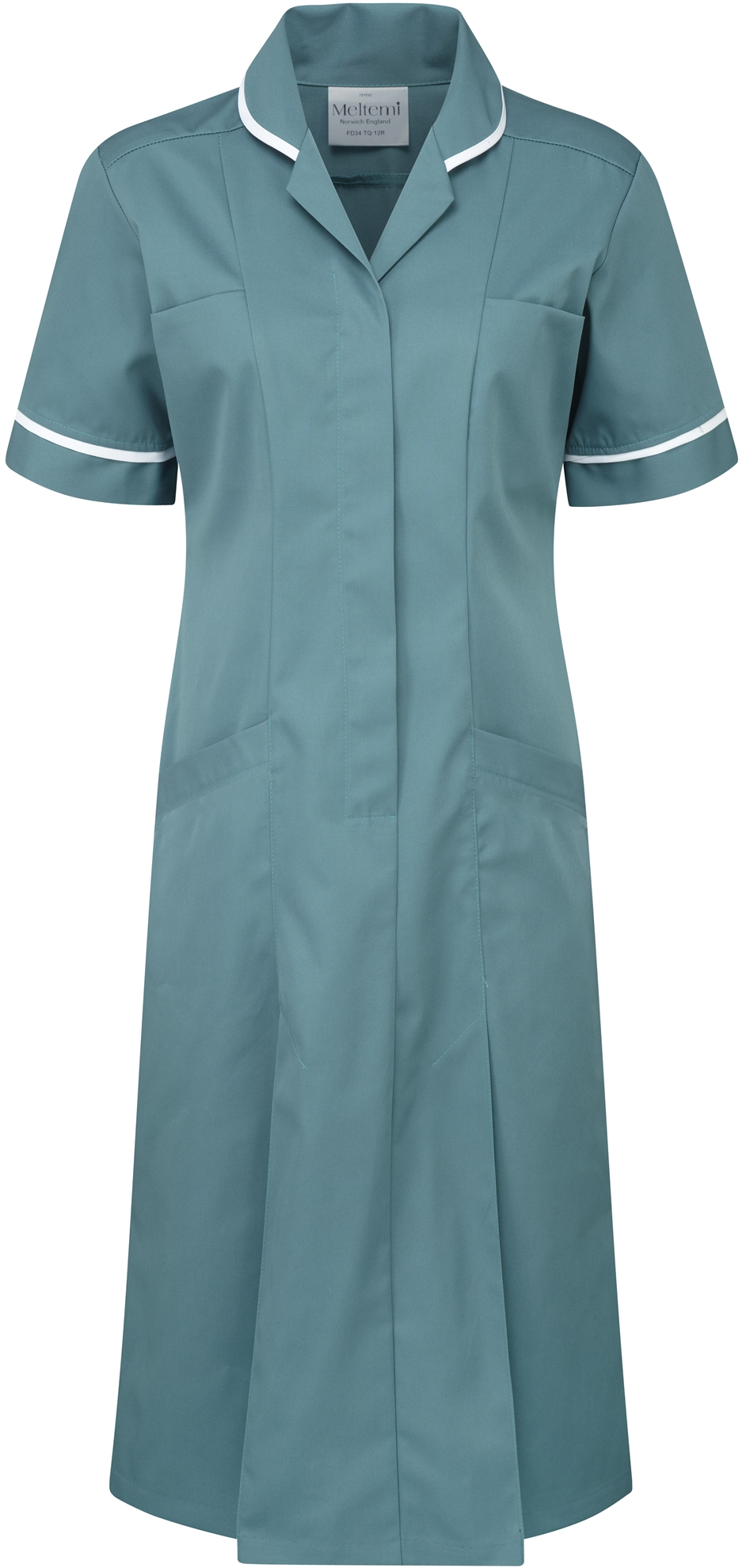 Picture of Plain Colour Dress - Turquoise/White