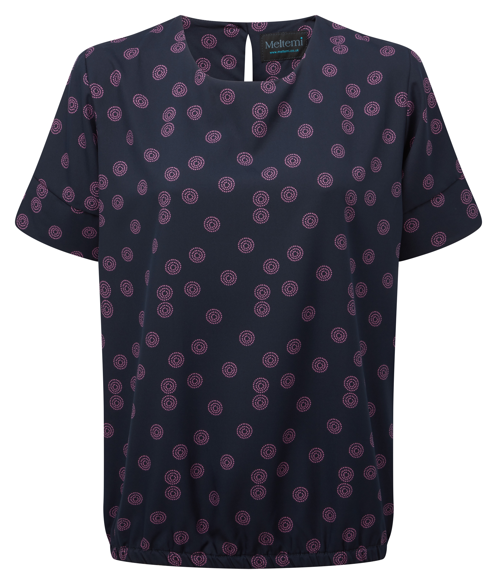 Picture of Looser Fit CoolWeave Blouson Style Blouse - Navy/Pink Sienna Print
