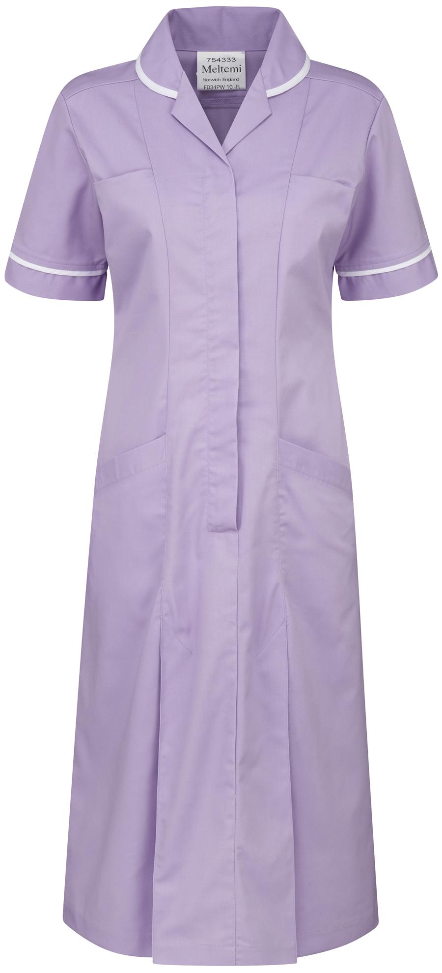 Picture of Plain Colour Dress - Lilac/White