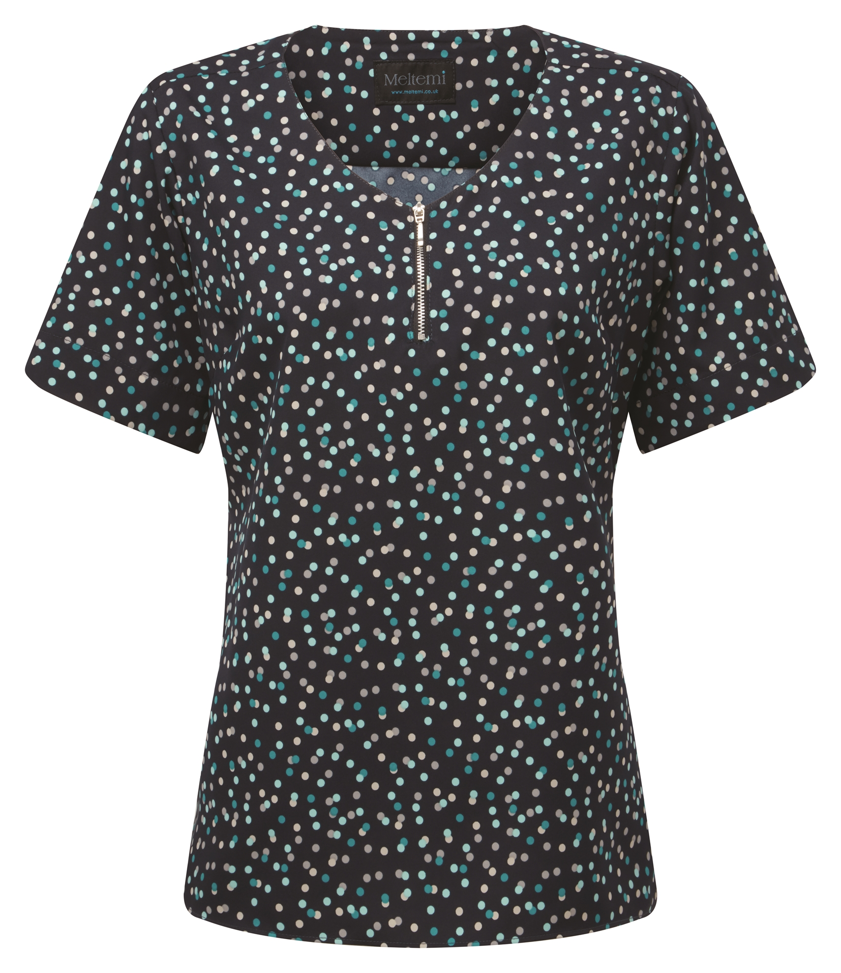 Picture of Semi-Fitted CoolWeave Blouse with Zip - Navy/Teal Darcey Print