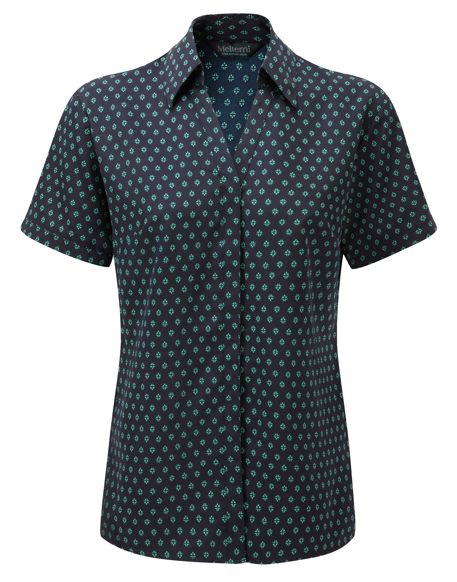 Picture of Semi-Fitted Polyester Blouse - Navy/Aqua Fleur Print