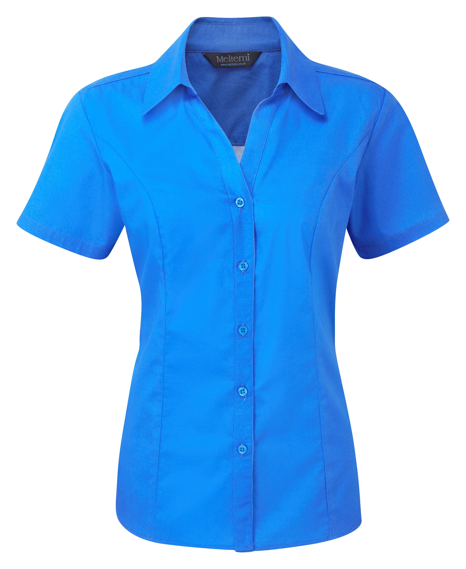 Picture of Semi-Fitted Polycotton Blouse - Plain Azure