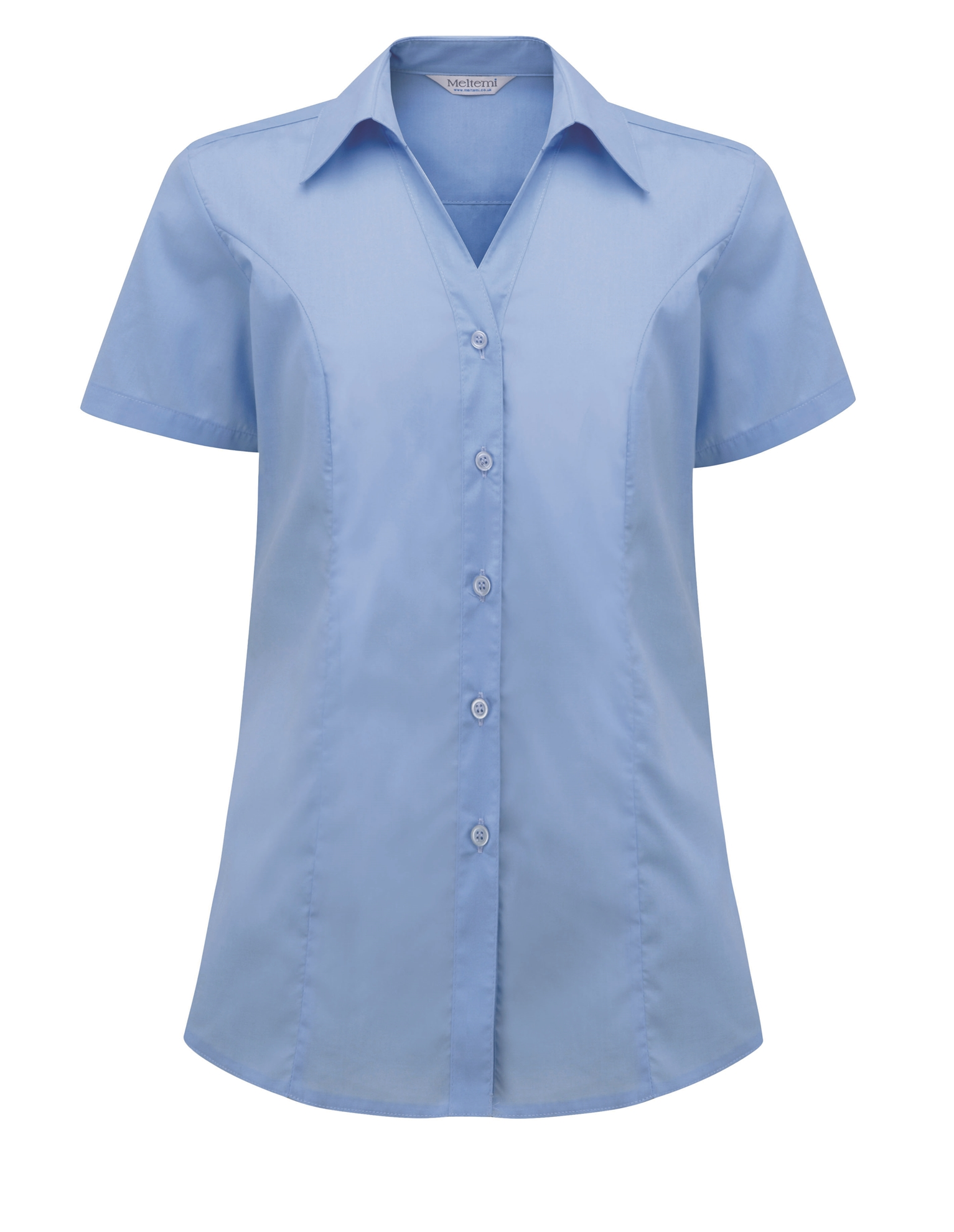Picture of Semi-Fitted Polycotton Blouse - Plain Light Blue