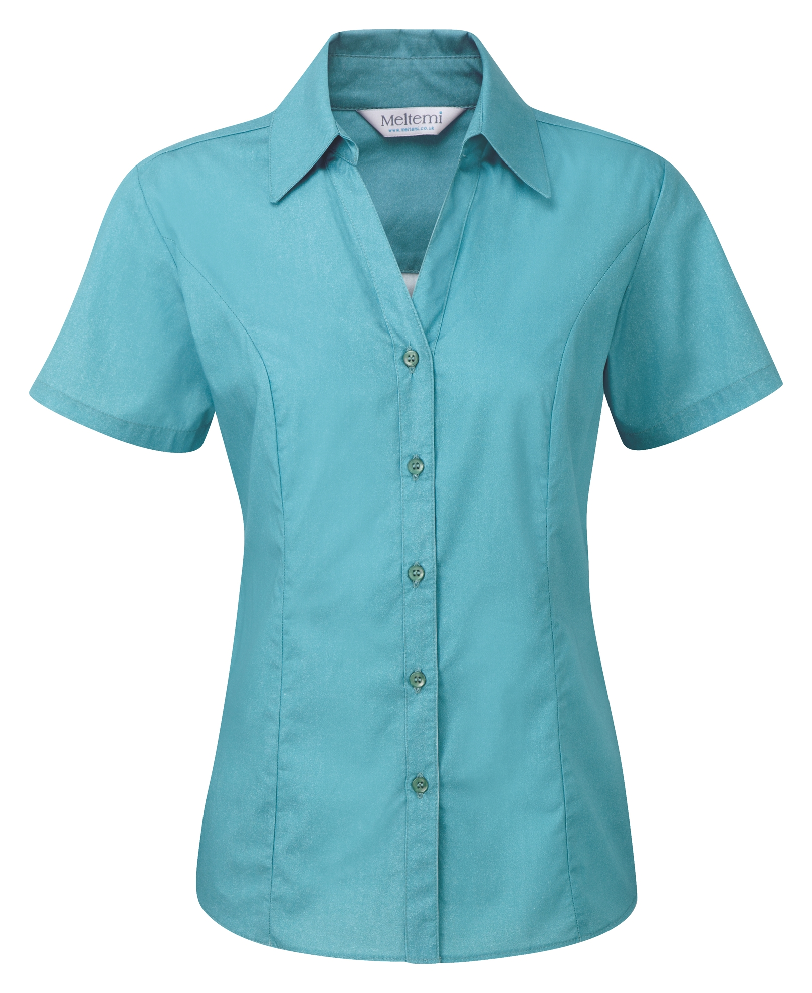 Picture of Semi-Fitted Polycotton Blouse - Plain Teal