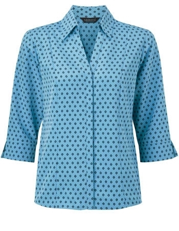 Picture of Semi-Fitted Polyester Blouse With 3/4 Sleeves - Light Blue/Navy Fleur Print