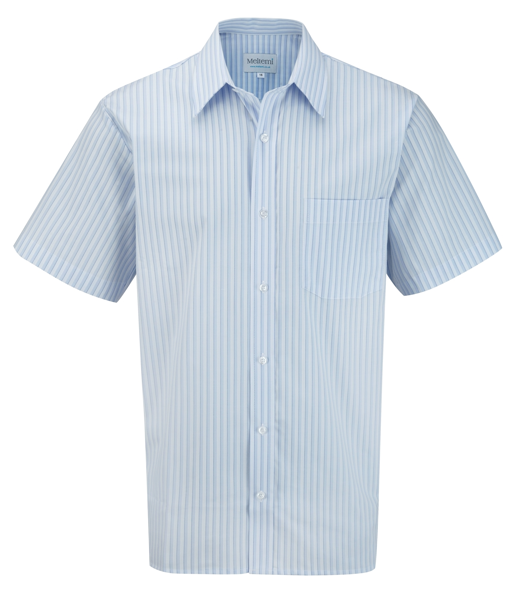 Picture of Male Short Sleeve Shirt - Blue/White Stripes