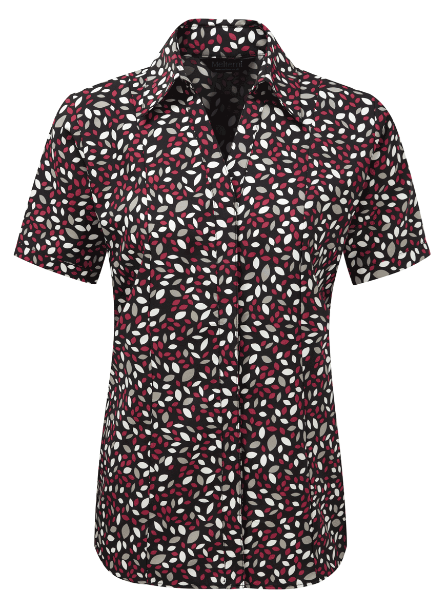 Picture of Semi-Fitted Coolweave Blouse - Black/Cerise Lauren Print