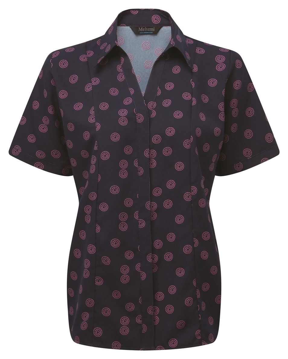 Picture of Semi-Fitted CoolWeave Blouse - Navy/Pink Sienna Print
