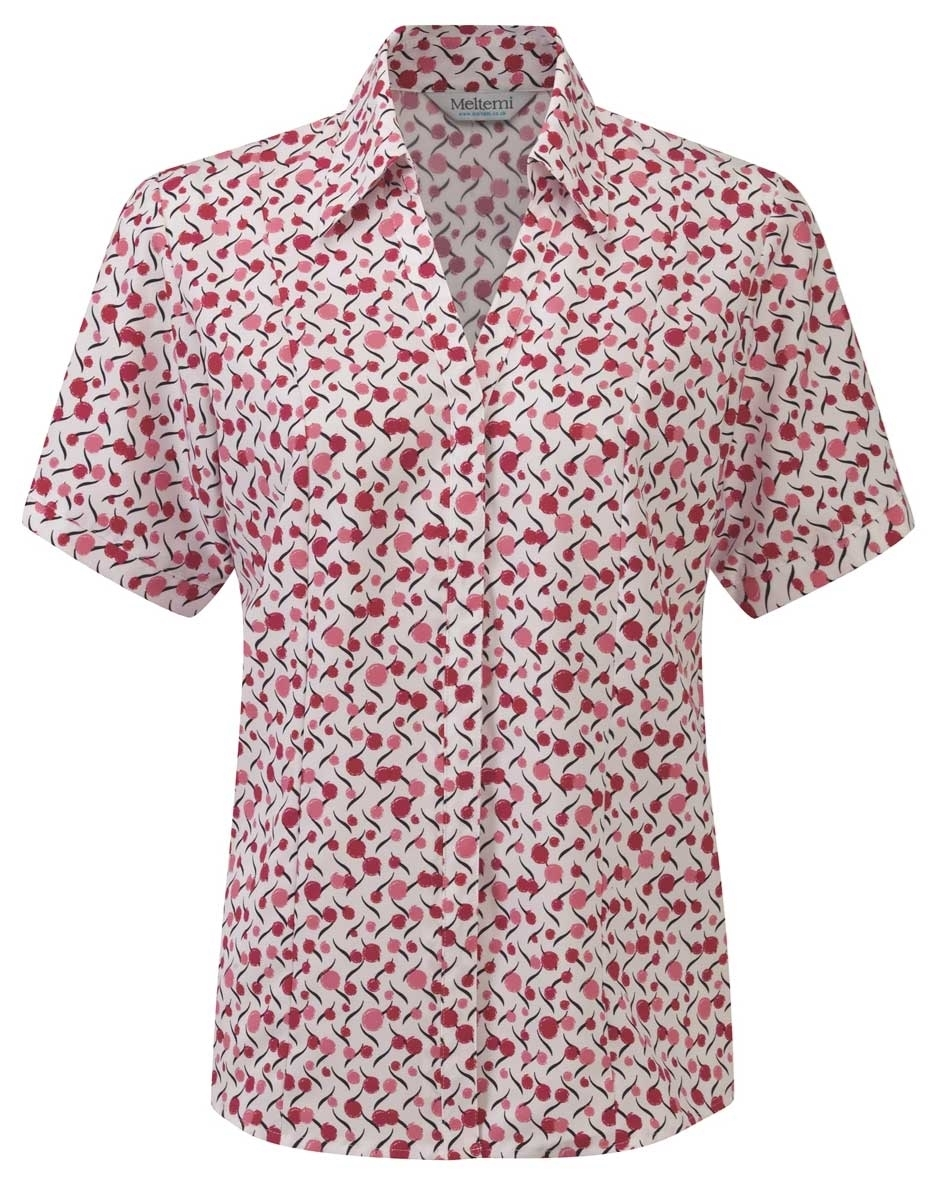 Picture of Semi-Fitted Coolweave Blouse - White/Cerise Chloe Print