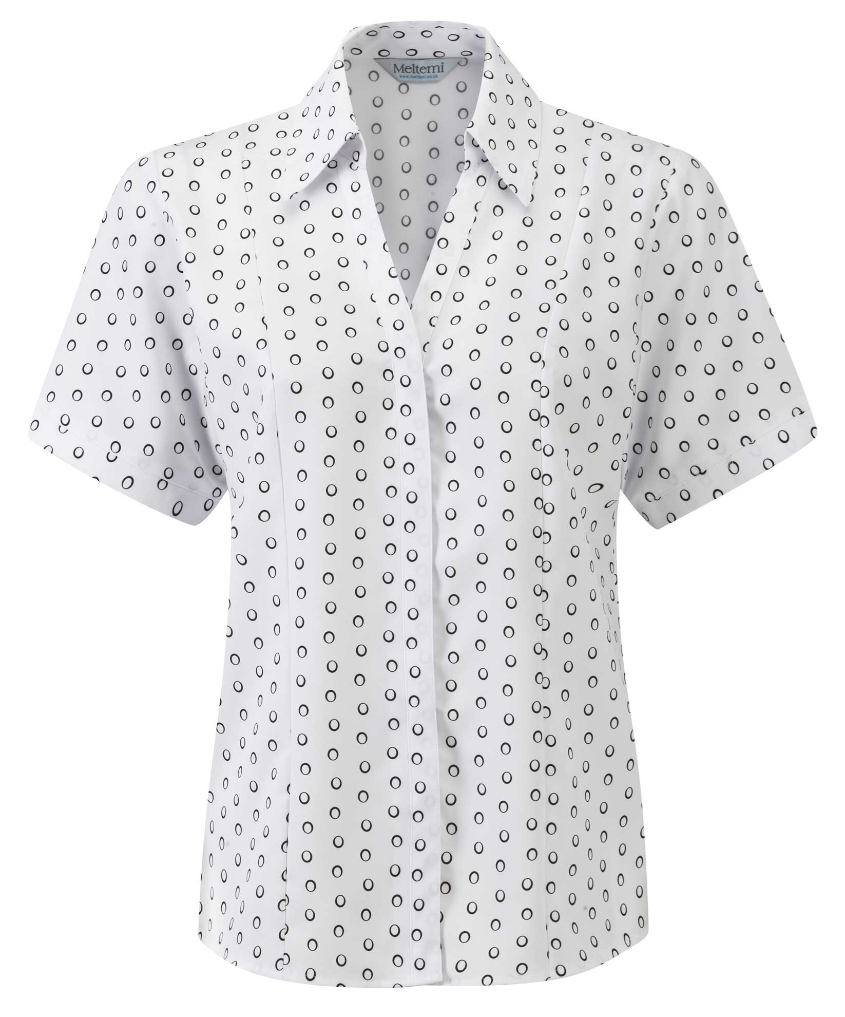 Picture of Semi-Fitted Coolweave Blouse - White/Black Ella Print