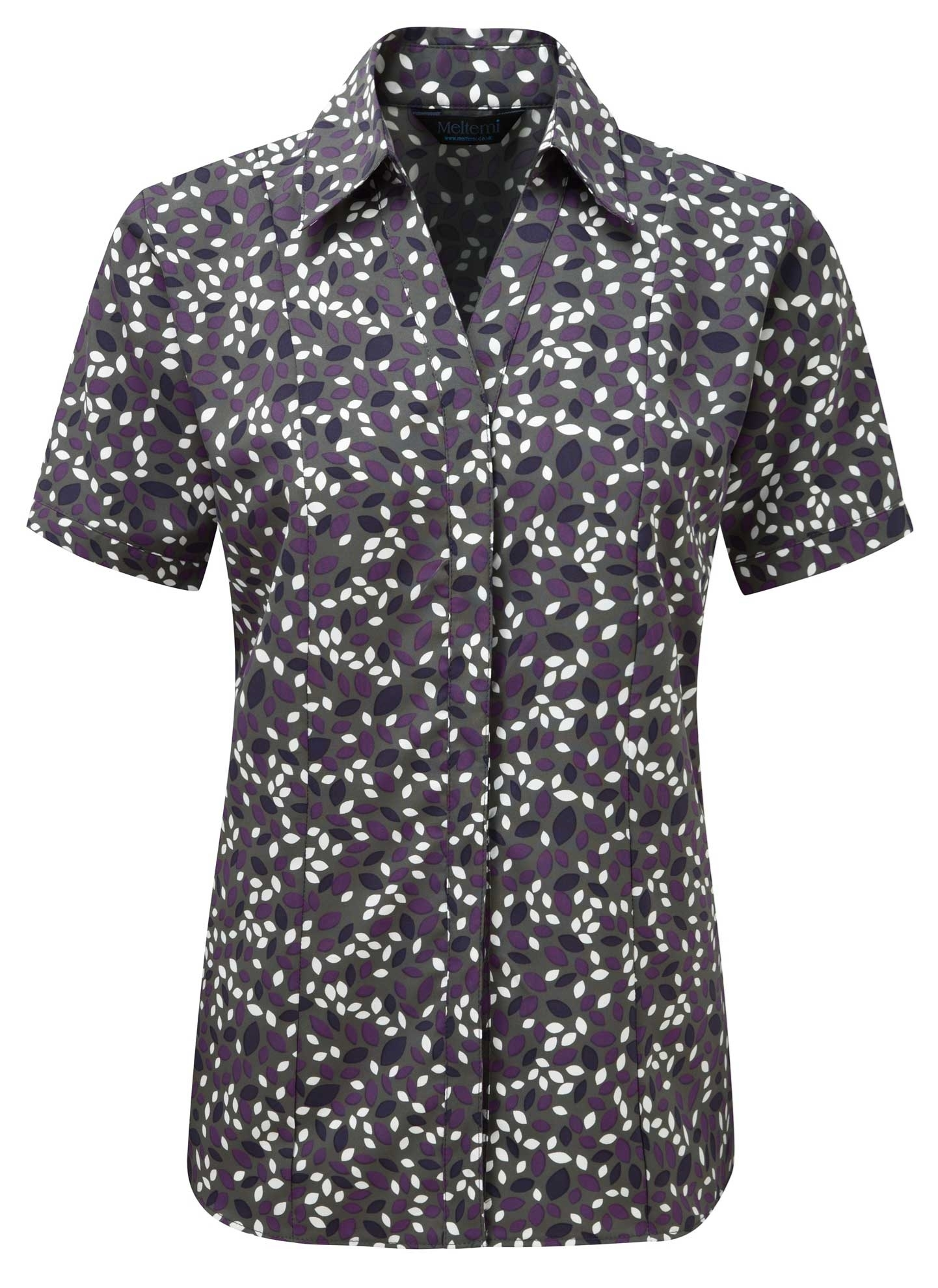 Picture of Semi-Fitted Coolweave Blouse - Grey/Amethyst Lauren Print