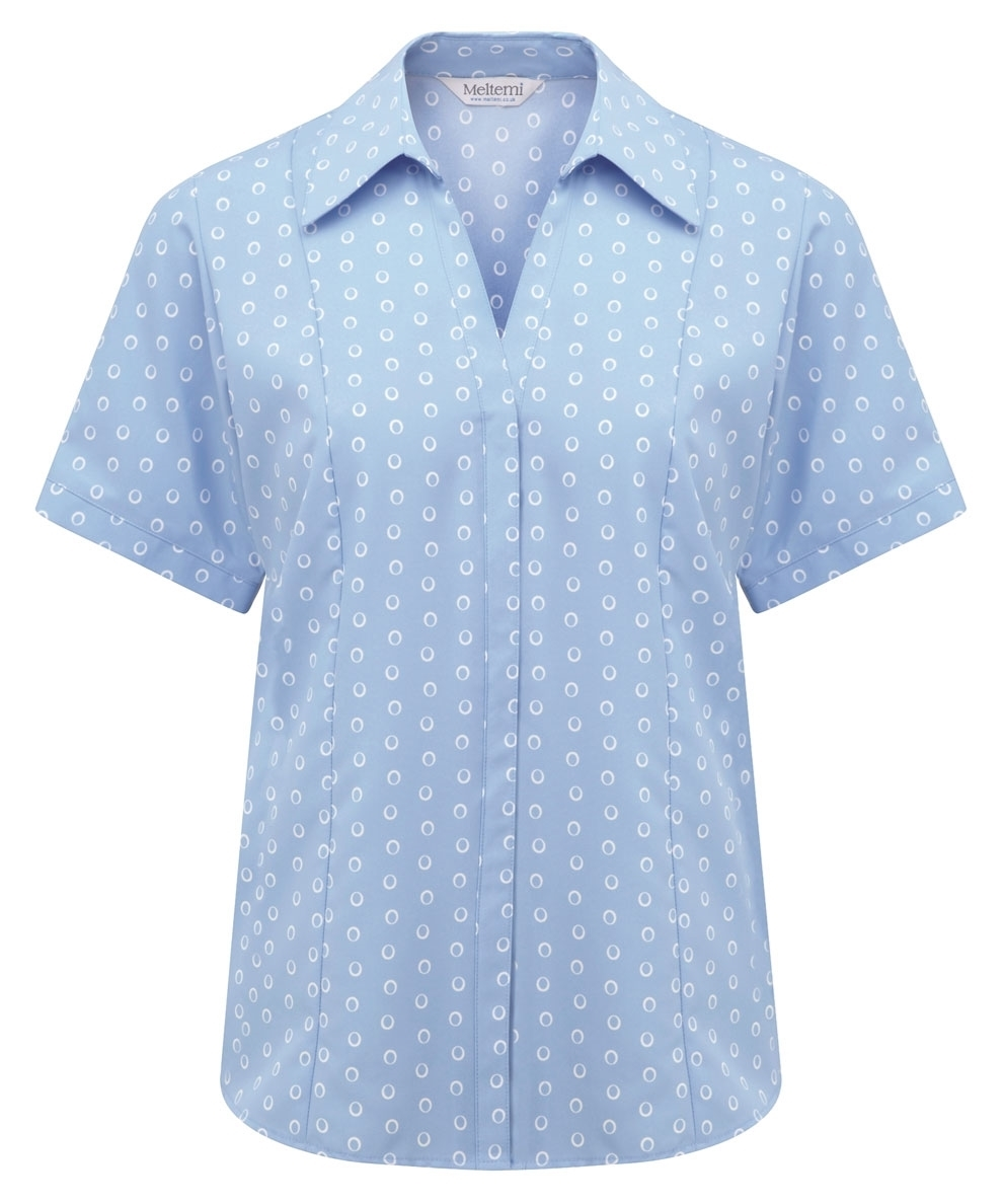 Picture of Semi-Fitted Coolweave Blouse - Light Blue/White Ella Print