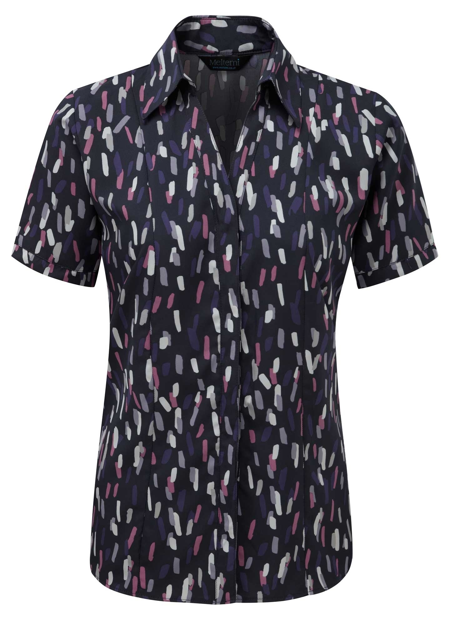 Picture of Semi-Fitted Coolweave Blouse - Navy/Rose Amelia Print