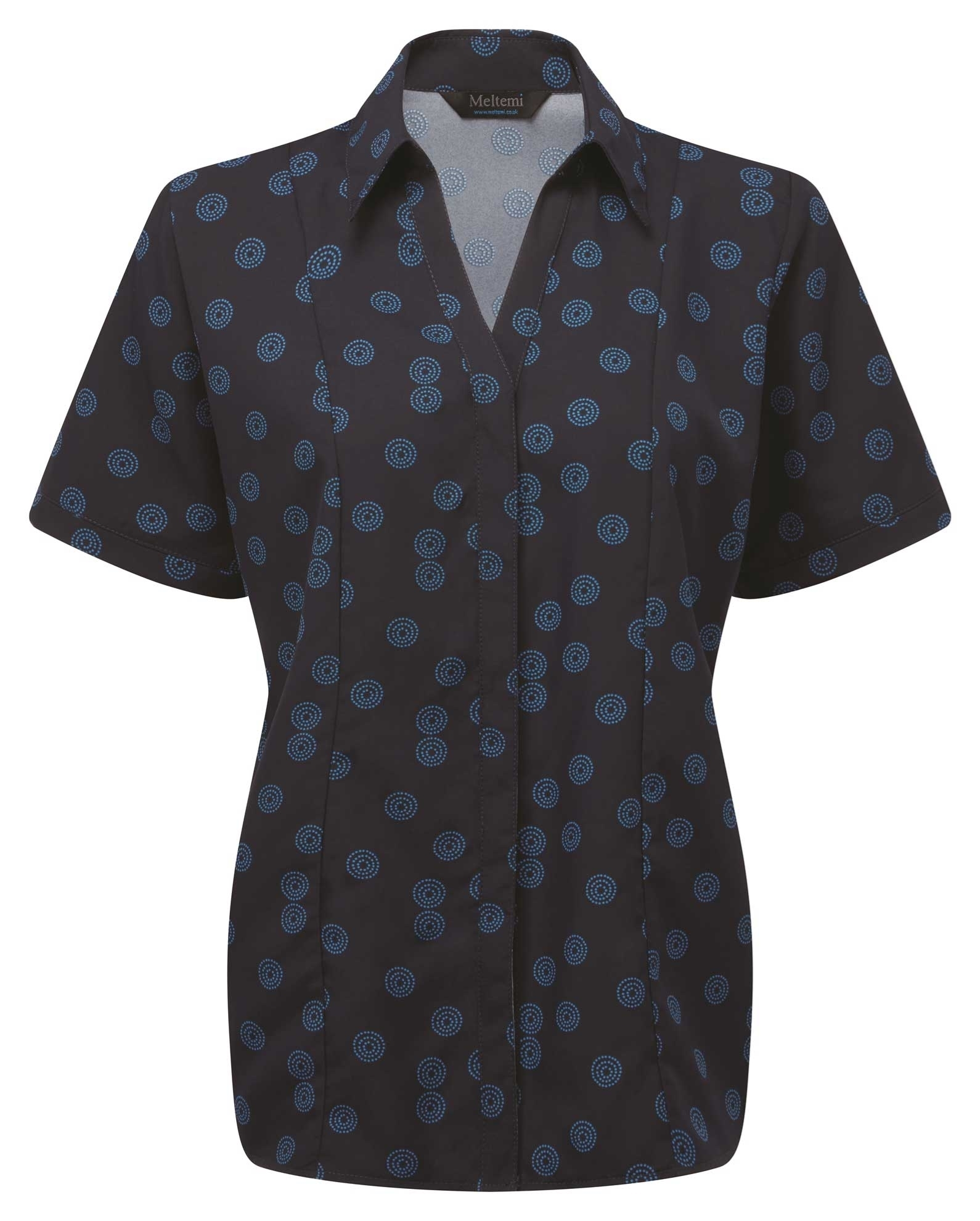 Picture of Semi-Fitted CoolWeave Blouse - Navy/Blue Sienna Print