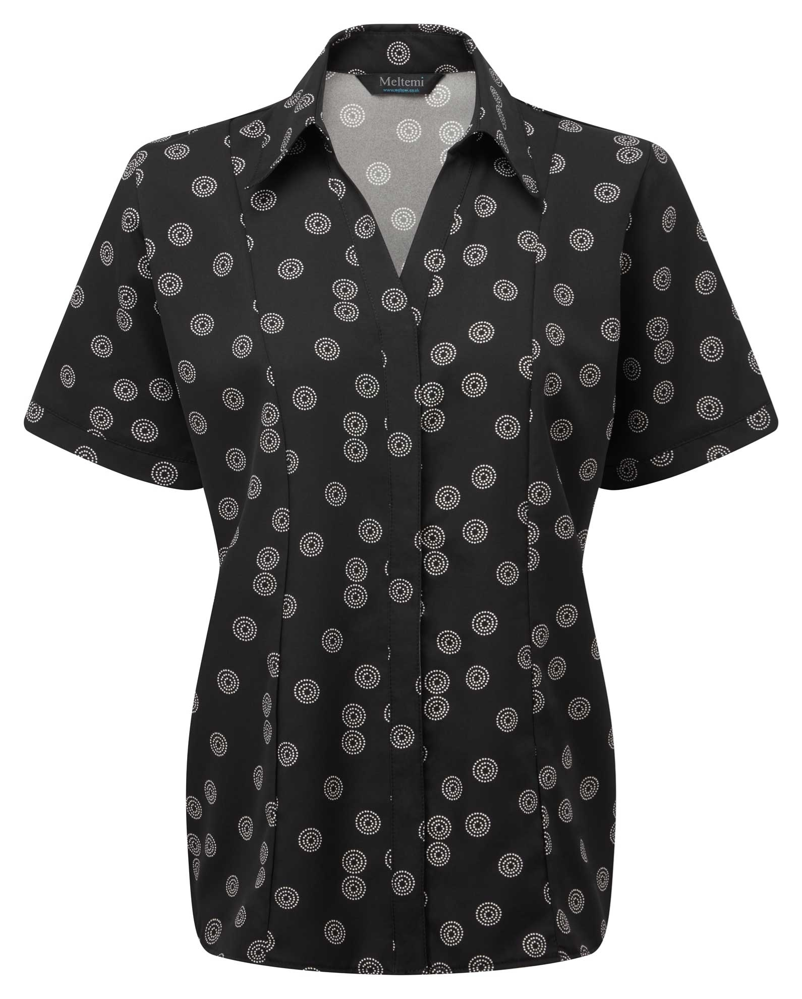 Picture of Semi-Fitted CoolWeave Blouse - Black/White Sienna Print