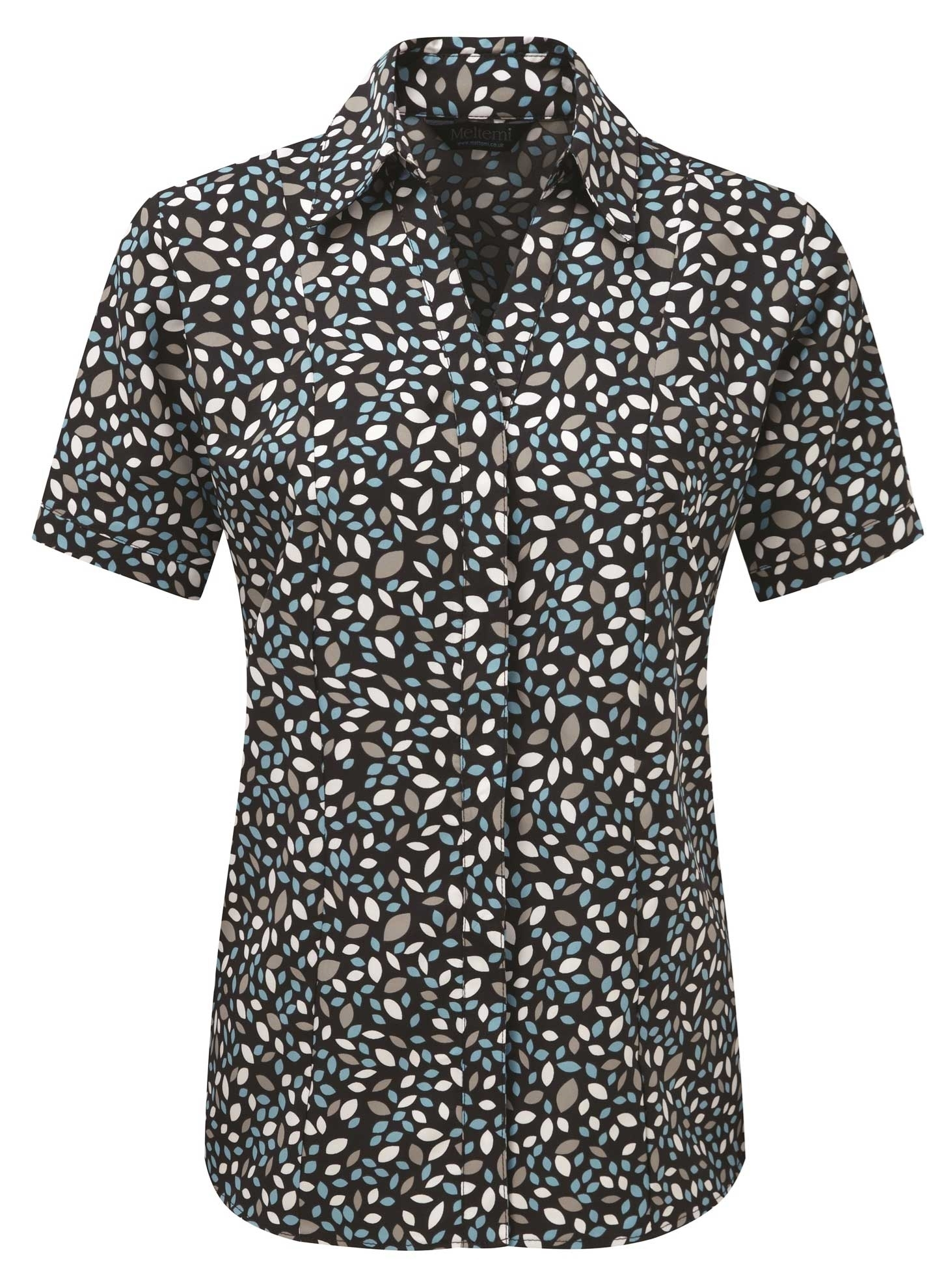 Picture of Semi-Fitted Coolweave Blouse - Navy/Turquoise Lauren Print