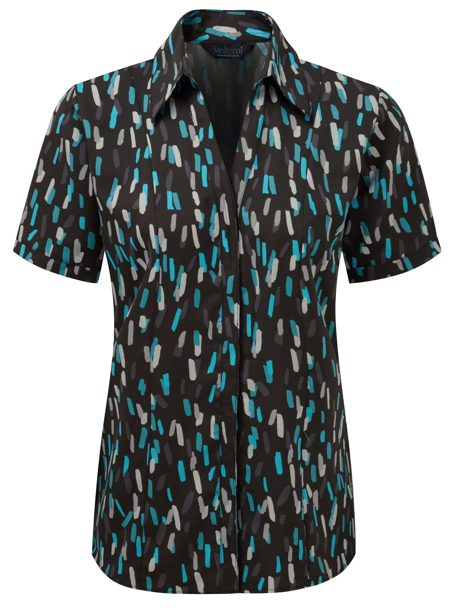 Picture of Semi-Fitted Coolweave Blouse - Black/Turquoise Amelia Print