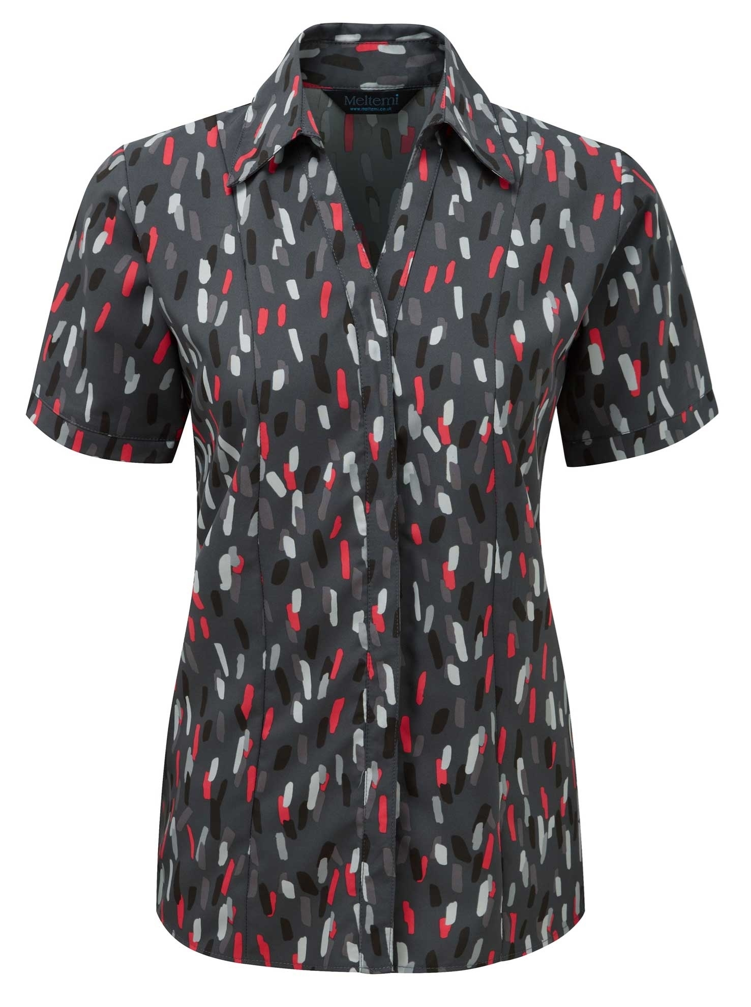 Picture of Semi-Fitted Coolweave Blouse - Grey/Red Amelia Print