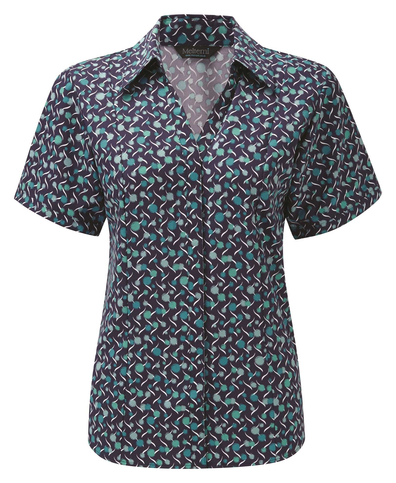 Picture of Semi-Fitted Coolweave Blouse - Navy/Aqua Chloe Print