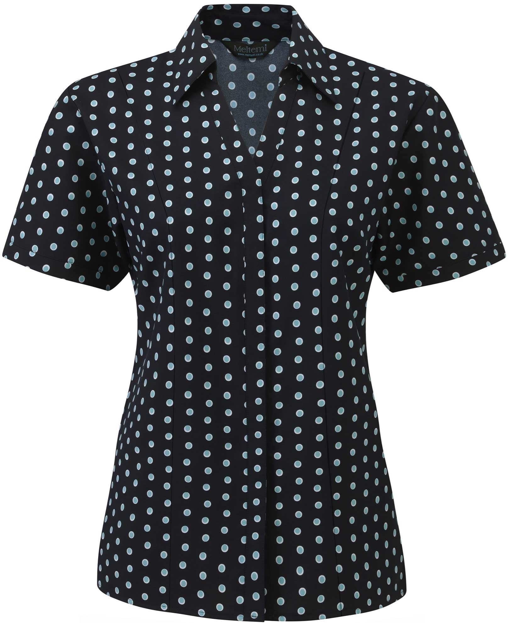 Picture of Semi-Fitted Coolweave Blouse - Navy/Aqua/White Ella Print