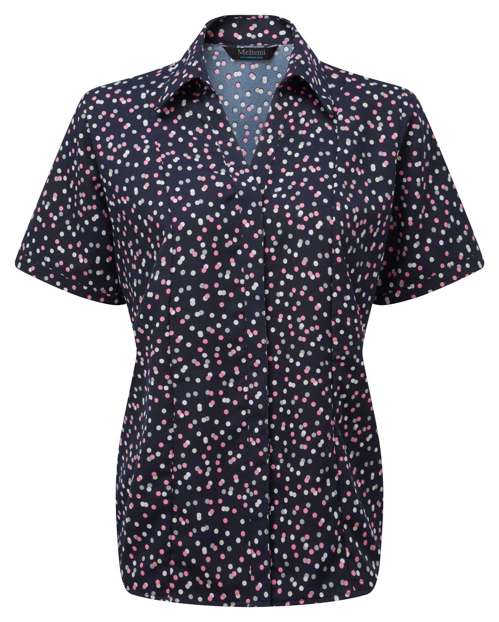 Picture of Semi-Fitted CoolWeave Blouse - Navy/Pink/Grey Darcey Print