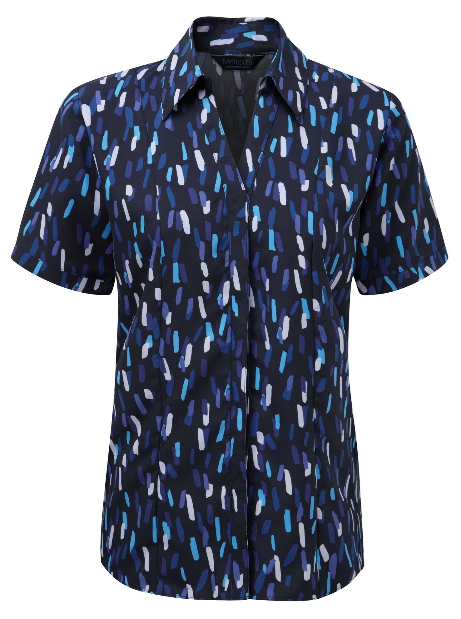 Picture of Semi-Fitted Coolweave Blouse - Navy/Blue Amelia Print