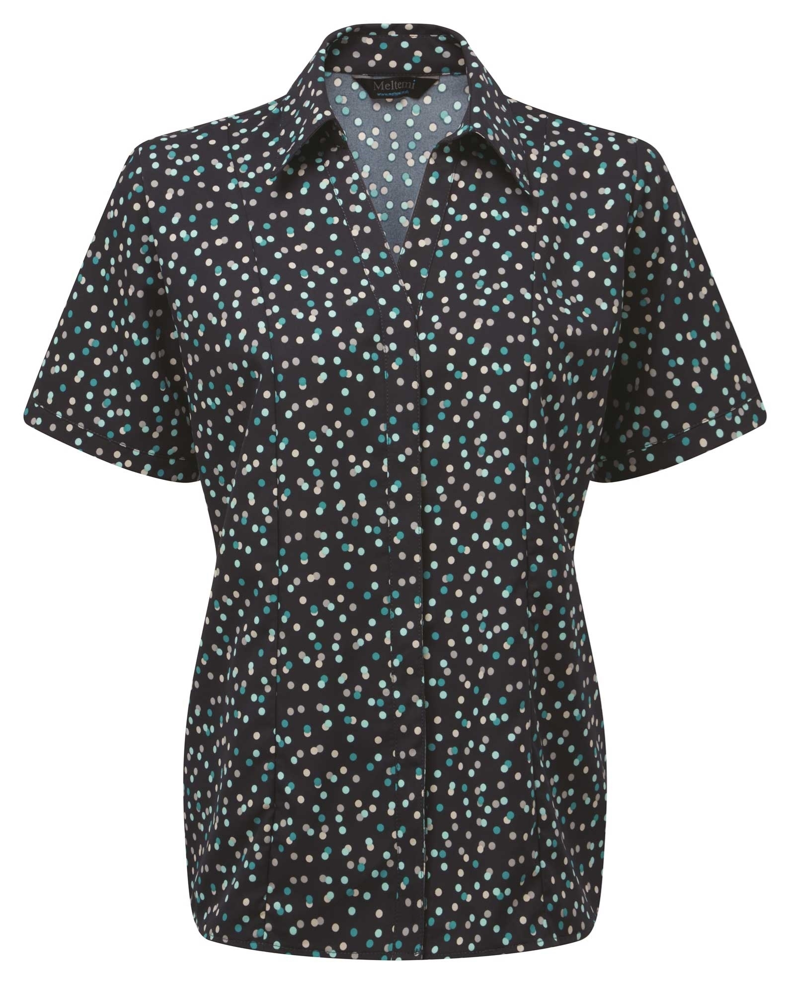 Picture of Semi-Fitted CoolWeave Blouse - Navy/Teal/Grey Darcey Print