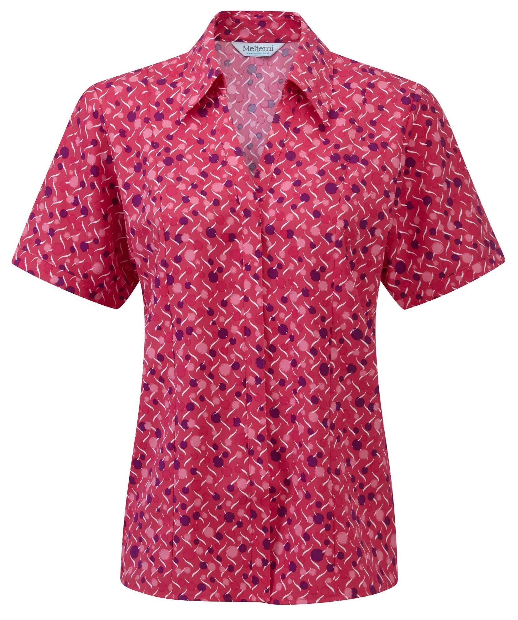 Picture of Semi-Fitted Coolweave Blouse - Cerise/Amethyst Chloe Print