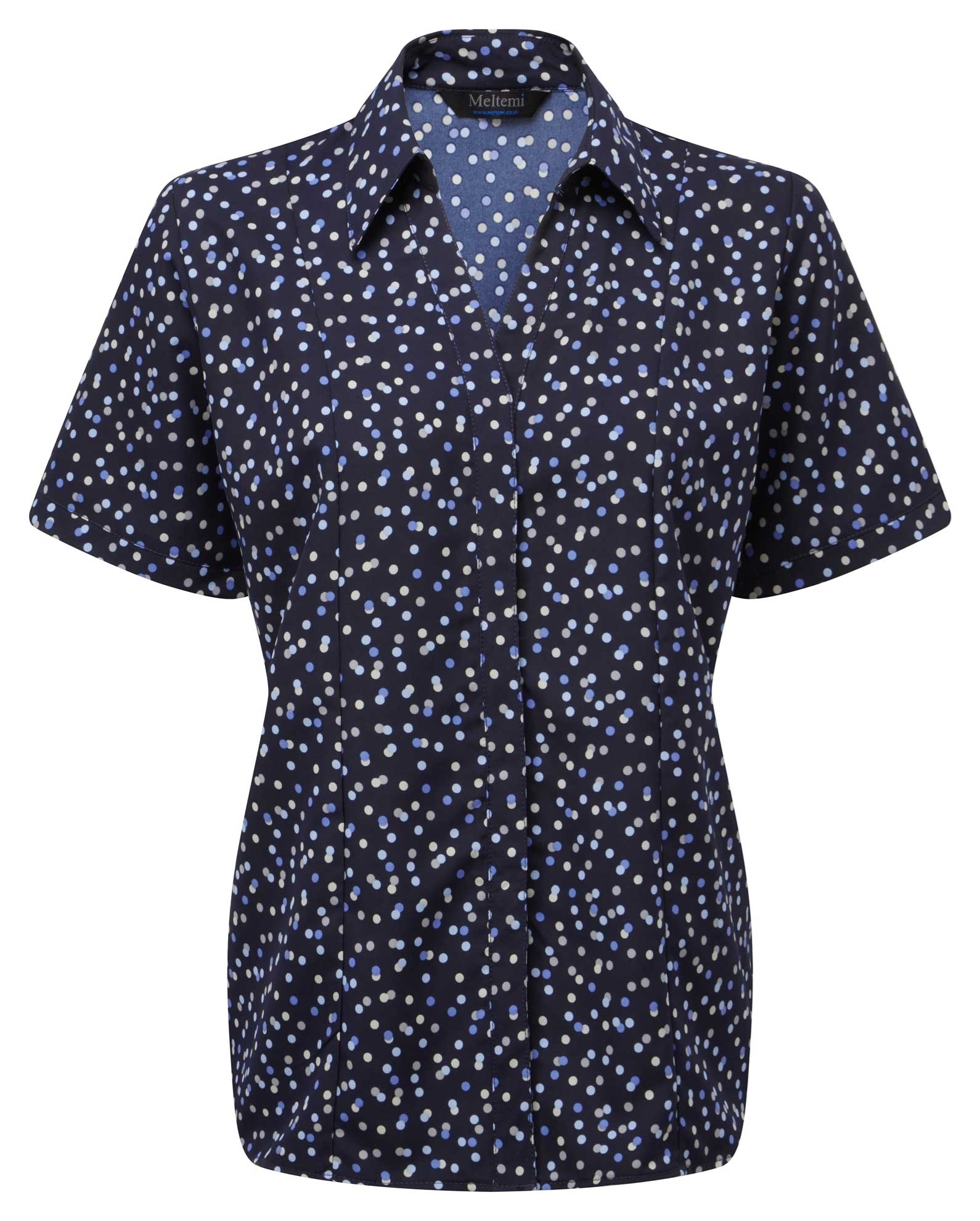 Picture of Semi-Fitted CoolWeave Blouse - Navy/Lavender/Grey Darcey Print
