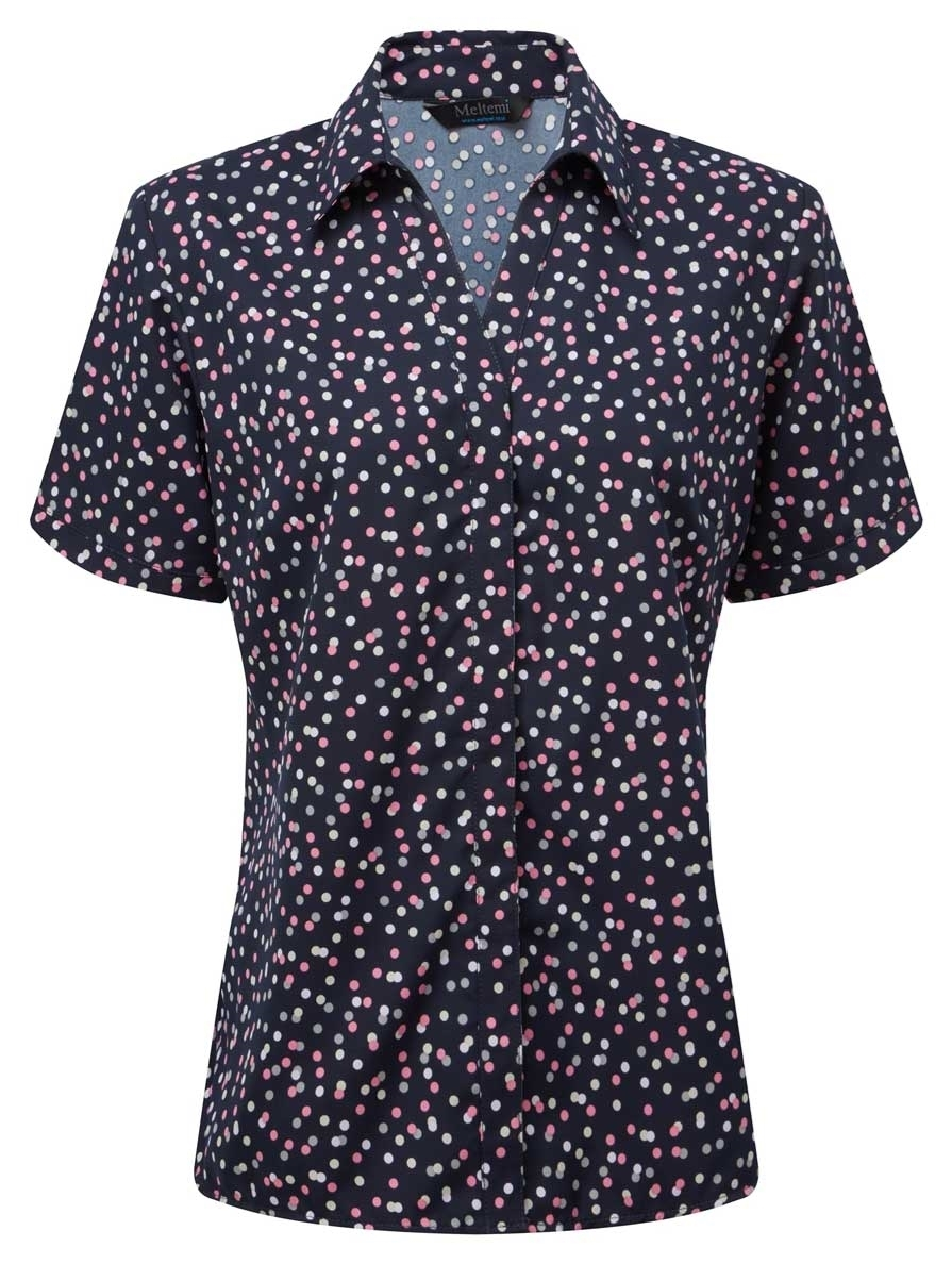 Picture of Looser Style CoolWeave Blouse - Navy/Pink/Grey Print